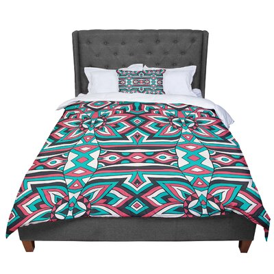 Pom Graphic Design Ethnic Floral Mosaic Comforter Size: Queen