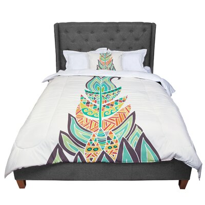 Pom Graphic Design Tribal Feather Comforter Size: Queen