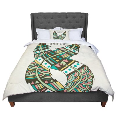 Pom Graphic Design Soulmate Feathers Comforter Size: Queen