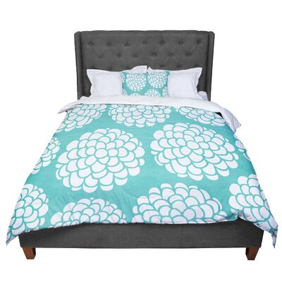 Pom Graphic Design Hydrangeas Blossoms Circles Comforter Size: Queen