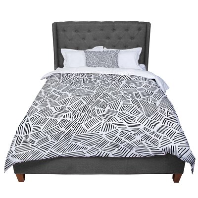 Pom Graphic Design Inca Lines Illustration Comforter Size: Queen, Color: Black