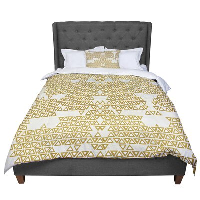Pom Graphic Design Mint and Gold Empire Geometric Comforter Size: Queen