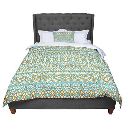 Pom Graphic Design Mint and Gold Tribals Comforter Size: Queen