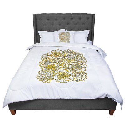 Pom Graphic Design Bohemian Succulents II Floral Comforter Size: Queen, Color: White