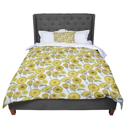 Pom Graphic Design Calendula Flowers Comforter Size: King