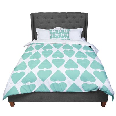 Project M Mint Diamond Hearts Comforter Size: King