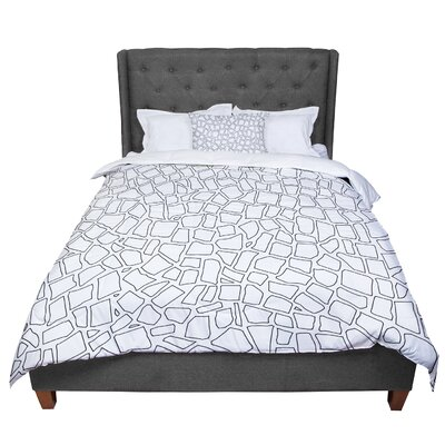 Project M British Mosaic Comforter Size: Queen, Color: White