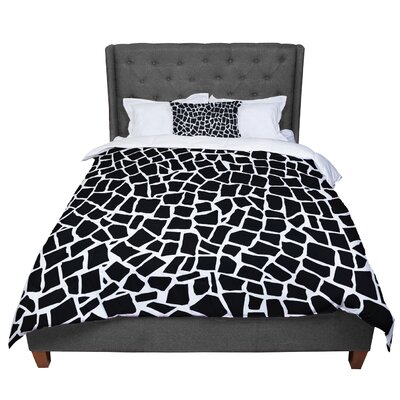 Project M British Mosaic Comforter Size: Queen, Color: Black