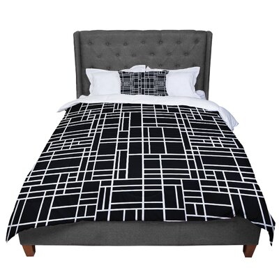 Project M Map Outline Simple Geometric Comforter Size: King
