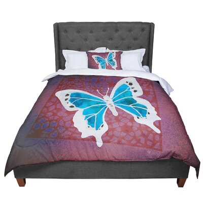 Padgett Mason Summer Flutter Comforter Size: King, Color: Aqua