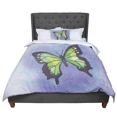 Padgett Mason Summer Flutter Comforter Size: King, Color: Purple