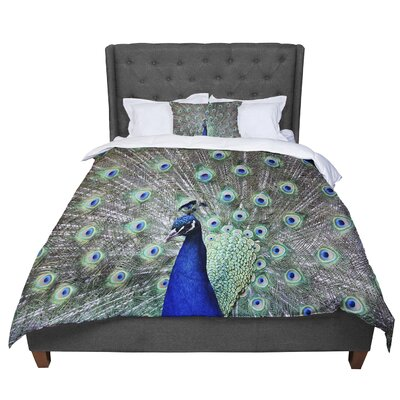 Qing Ji Peacock of Stunning Feathers Comforter Size: King