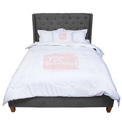 Qing Ji Brush Lettering Beautiful Peach Comforter Size: Queen