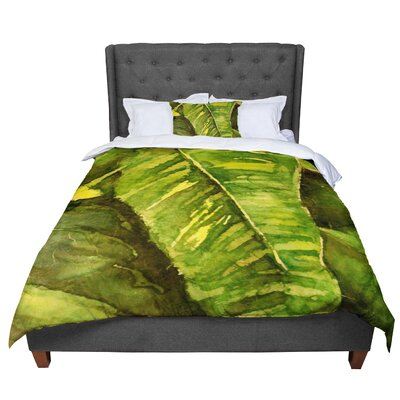 Rosie Tropical Garden Leaf Comforter Size: Queen