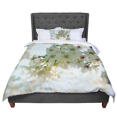 Robin Dickinson Cherry Blossoms Flower Comforter Size: Queen