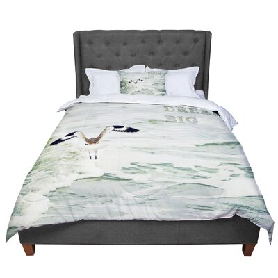 Robin Dickinson Dream Big Ocean Bird Comforter Size: Queen