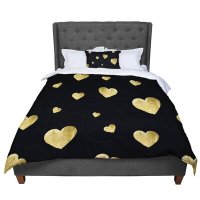 Robin Dickinson Floating Hearts Comforter Size: King