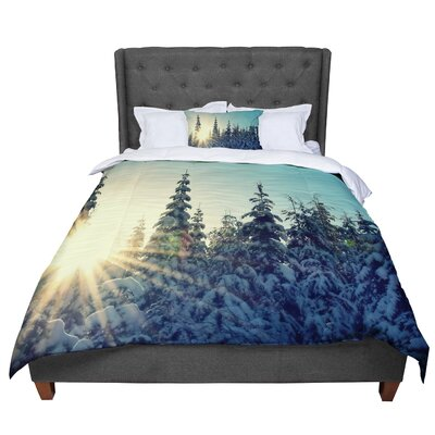 Robin Dickinson Shine Bright Snowy Trees Comforter Size: King