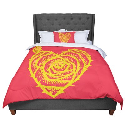 BarmalisiRTB I Love Roses Heart Thorns Comforter Size: Queen