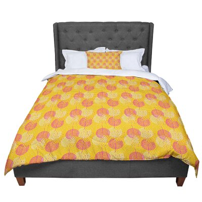 Apple Kaur Designs Wild Summer Dandelions Circles Comforter Size: Queen