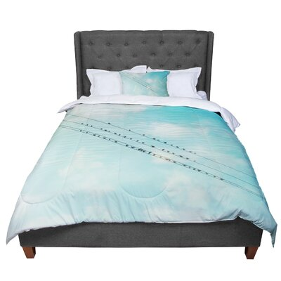 Sylvia Cook Birds on Wires Sky Comforter Size: Twin