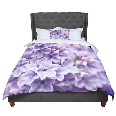 Sylvia Cook Lilac Flowers Comforter Size: King