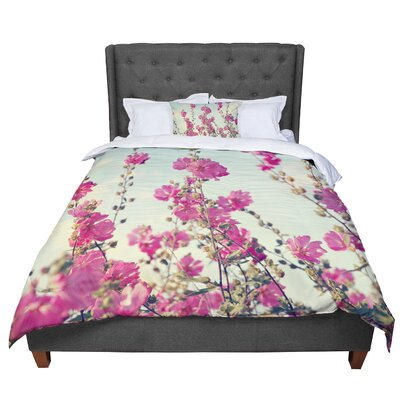 Sylvia Cook Lavatera Flowers Sky Comforter Size: Twin