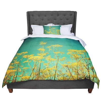 Sylvia Cook Flowers Sky Comforter Size: King