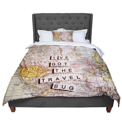 Sylvia Cook Travel Bug Map Comforter Size: Queen