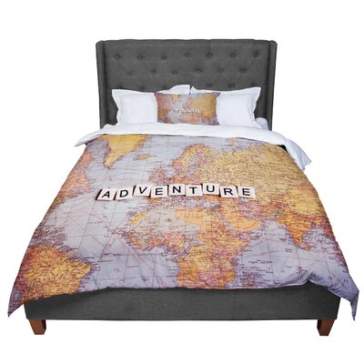 Sylvia Cook Adventure Map World Comforter Size: Queen