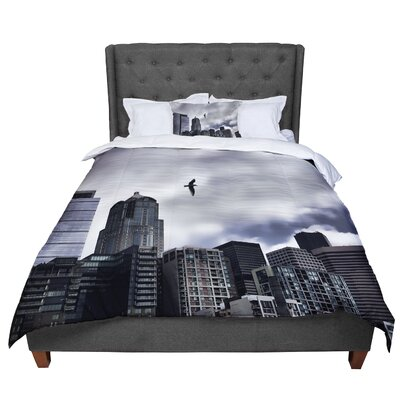 Sylvia Cook Seattle Skyline City Clouds Comforter Size: Twin
