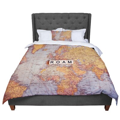 Sylvia Cook Roam Map World Comforter Size: Queen