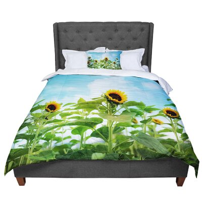 Sylvia Cook Sunflower Field Comforter Size: King