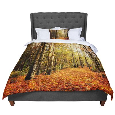 Sylvia Cook Autumn Leaves Rustic Comforter Size: King