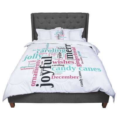 Sylvia Cook Holiday Traditions Christmas Typography Comforter Size: King