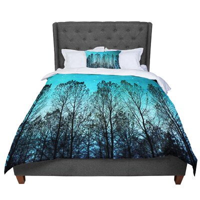 Sylvia Cook Dark Forest Trees Comforter Size: Queen