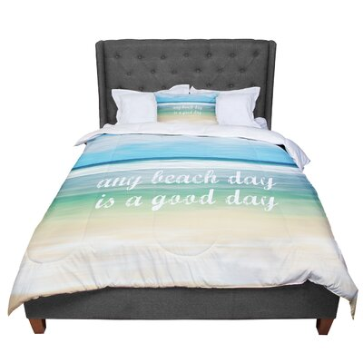 Sylvia Cook Any Beach Day Coastal Typography Comforter Size: King