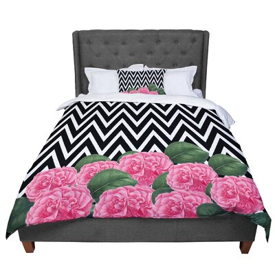 Suzanne Carter Camellia Chevron Flower Comforter Size: Twin
