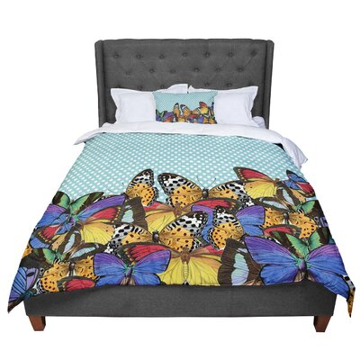 Suzanne Carter Butterfly Polka Comforter Size: King, Color: Teal