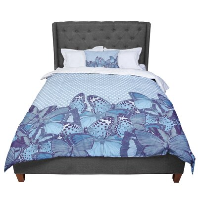 Suzanne Carter Butterfly Polka Comforter Size: Twin, Color: Aqua