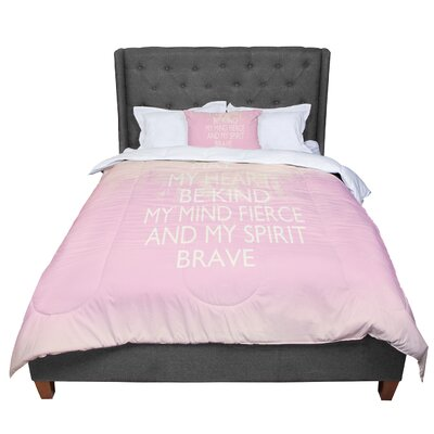 Suzanne Carter Kind Typography Comforter Size: King, Color: Pink