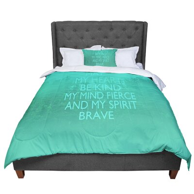 Suzanne Carter Kind Typography Comforter Size: King, Color: Green