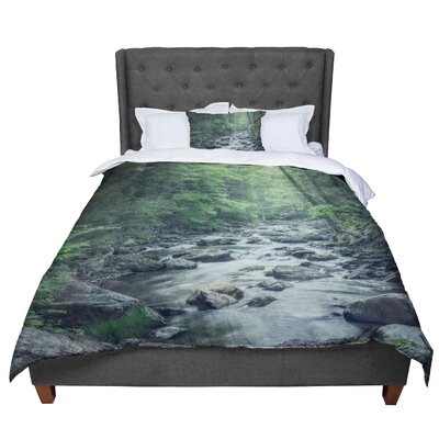 Suzanne Harford Misty Forest Stream Nature Photography Comforter Size: King