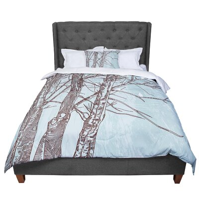 Sam Posnick Winter Trees Comforter Size: Queen