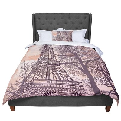 Sam Posnick Eiffel Tower Comforter Size: King