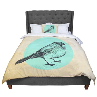 Sreetama Ray Old Paper Bird Circle Comforter Size: Queen