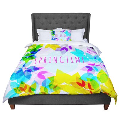 Sreetama Ray Seasons Springtime Rainbow Leaves Comforter Size: Queen