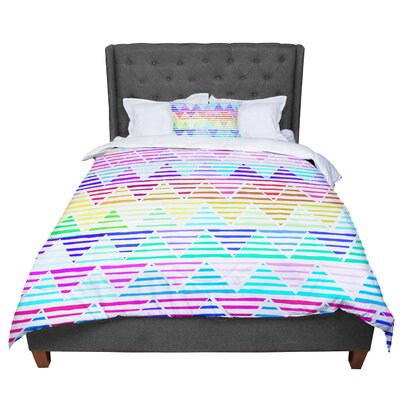 Sreetama Ray Stripes Cushion Rainbow Chevron Comforter Size: Twin
