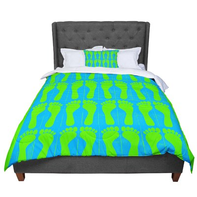 Sreetama Ray Footprints Comforter Size: Queen, Color: Blue/Aqua