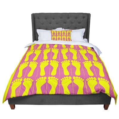Sreetama Ray Footprints Comforter Size: Twin, Color: Yellow/Pink